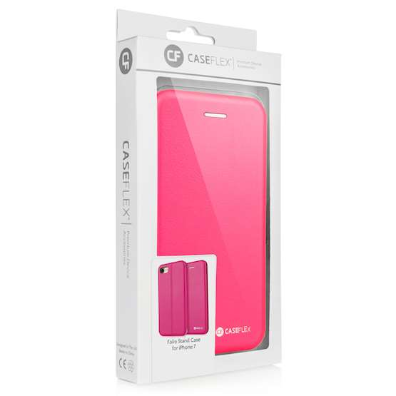 Caseflex iPhone 7 Leather-Effect Embossed StandWallet with Felt Lining - Pink (Retail Box)