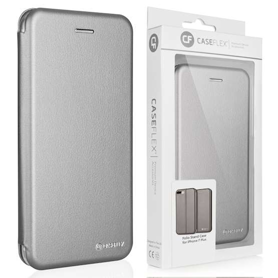 Caseflex iPhone 7 Plus Leather-Effect Embossed Stand Wallet with Felt Lining - Grey (Retail Box)