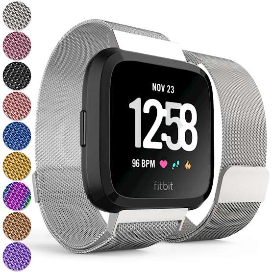 Replacement Strap for Fitbit Versa - Metal Milanese Band for Fitbit Versa (Silver)