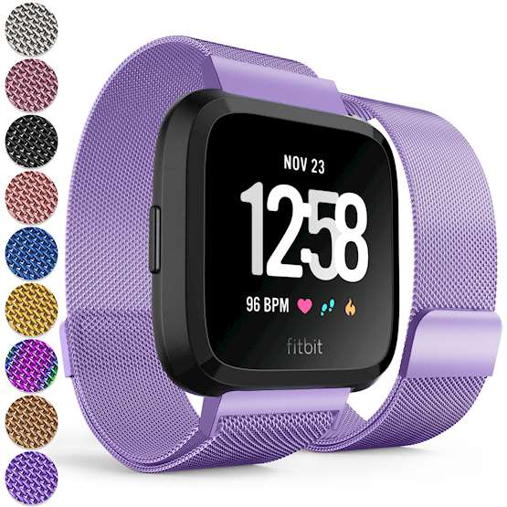 Replacement Strap for Fitbit Versa - Metal Milanese Band for Fitbit Versa (Plum)