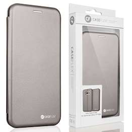 Caseflex Samsung Galaxy S7 Edge Leather-Effect Embossed Stand Wallet with Felt Lining - Grey (Retail Box)