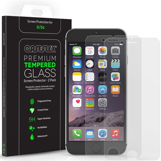 Caseflex iPhone 6S Screen Protector Tempered Glass - 2 Pack [3D Touch Compatible 0.2mm Thickness / 9H Hardness Rating]