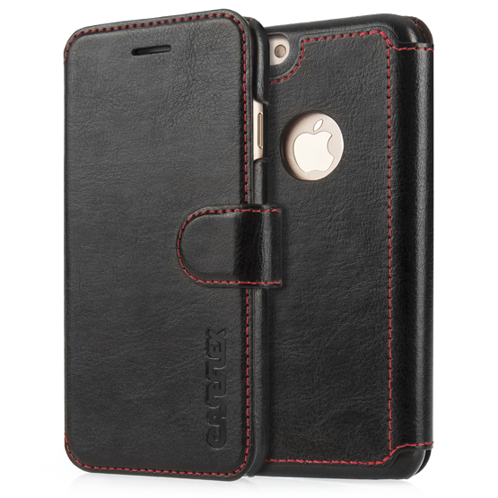 Caseflex iPhone 7 Leather Effect Wallet Case - Black with Red Lining