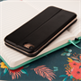 Caseflex iPhone 7 Leather-Effect  Stand Wallet with Felt Lining  - Black