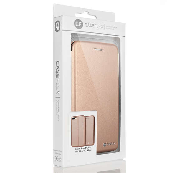 Caseflex iPhone 7 Plus Leather-Effect Embossed Stand Wallet with Felt Lining - Gold (Retail Box)