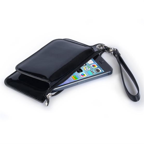 Caseflex iPhone 6 and 6s Leather Effect Gloss Purse - Black