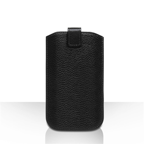 Caseflex Small Real Leather Return Phone Pouch - Black