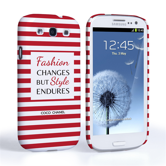 Caseflex Samsung Galaxy S3 Chanel 'Fashion Changes' Quote Case – Red and White