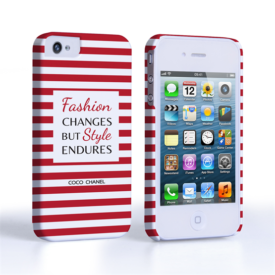 Caseflex iPhone 4/4s Chanel 'Fashion Changes' Quote Case – Red and White
