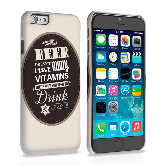Caseflex iPhone 6 and 6s Beer Label Quote Hard Case – Brown