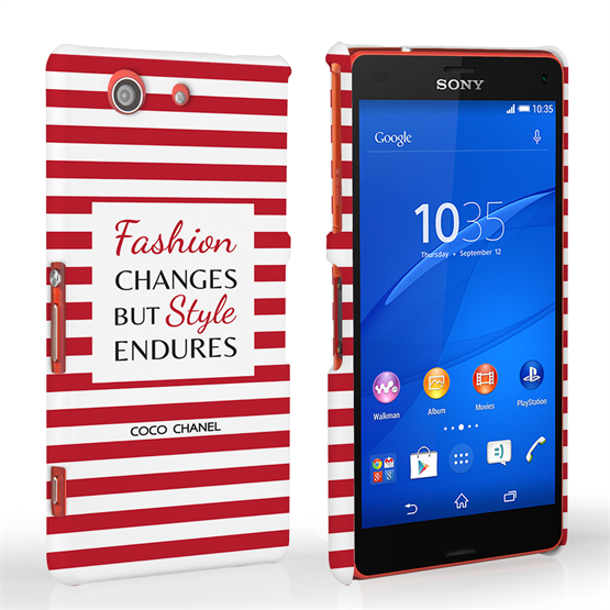 Caseflex Sony Xperia Z3 Compact Chanel 'Fashion Changes' Quote Case – Red and White