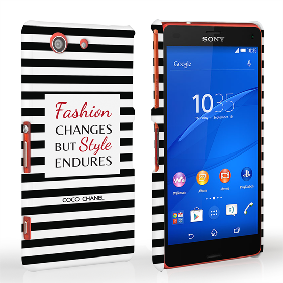 Caseflex Sony Xperia Z3 Compact Chanel 'Fashion Changes' Quote Case – Black and White