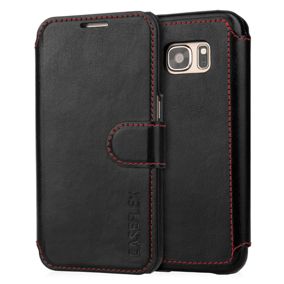 Caseflex Samsung Galaxy S7 Leather-Effect Wallet Case - Black with Red Lining (Retail Box)